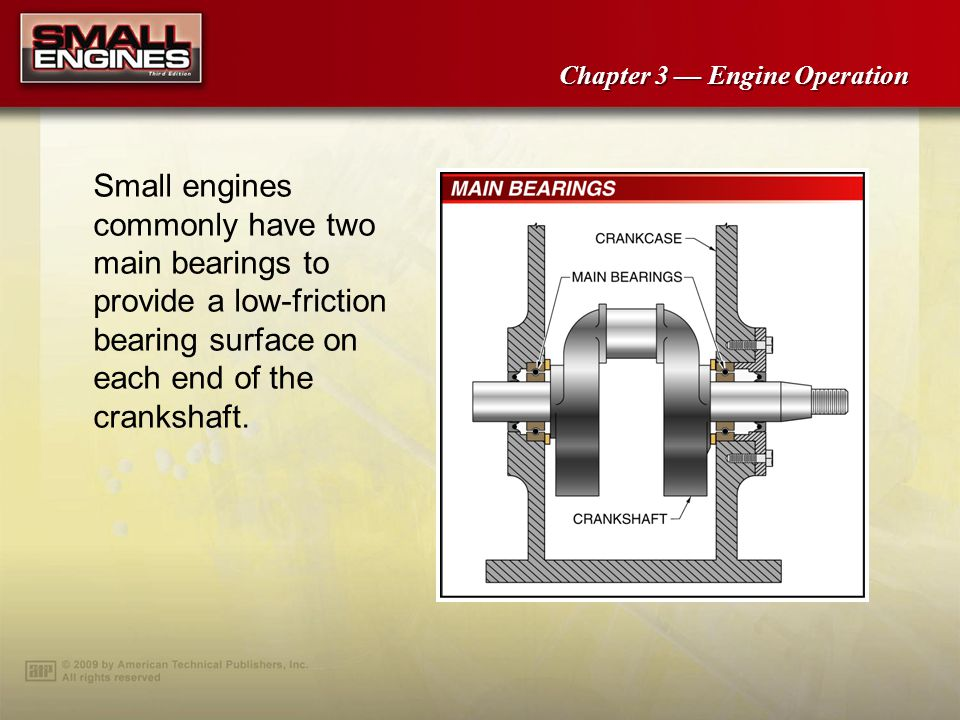 Small engines commonly have two main bearings to provide a low-friction bearing surface on each end of the crankshaft.