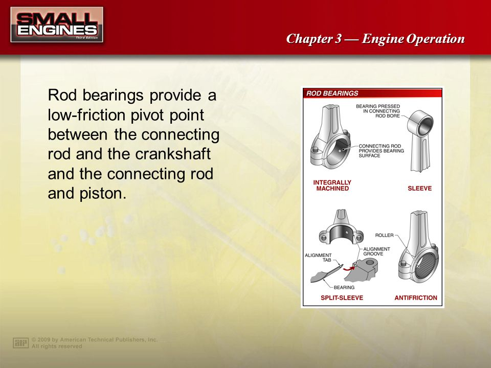 Rod bearings provide a low-friction pivot point between the connecting rod and the crankshaft and the connecting rod and piston.