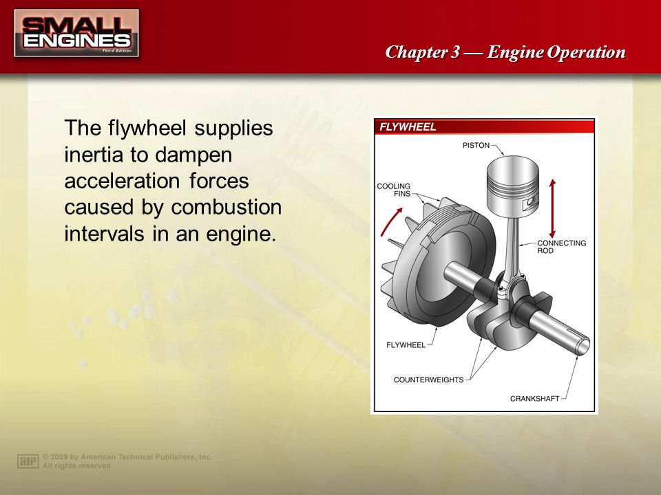 The flywheel supplies inertia to dampen acceleration forces caused by combustion intervals in an engine.
