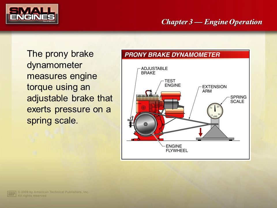 The prony brake dynamometer measures engine torque using an adjustable brake that exerts pressure on a spring scale.