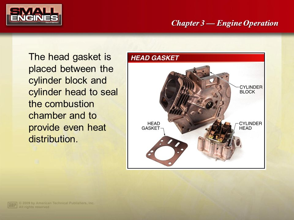 The head gasket is placed between the cylinder block and cylinder head to seal the combustion chamber and to provide even heat distribution.