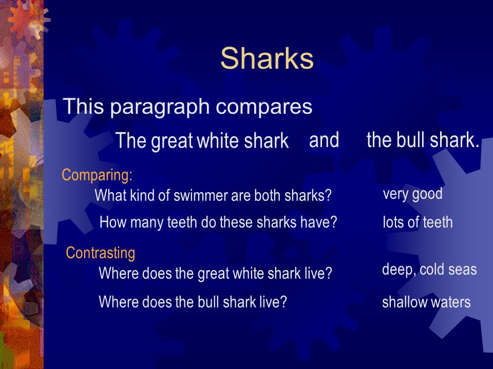 Sharks This paragraph compares The great white shark and