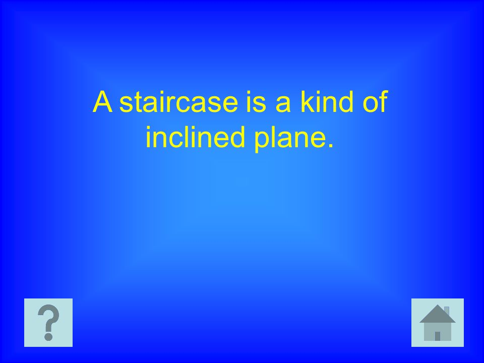 A staircase is a kind of inclined plane.
