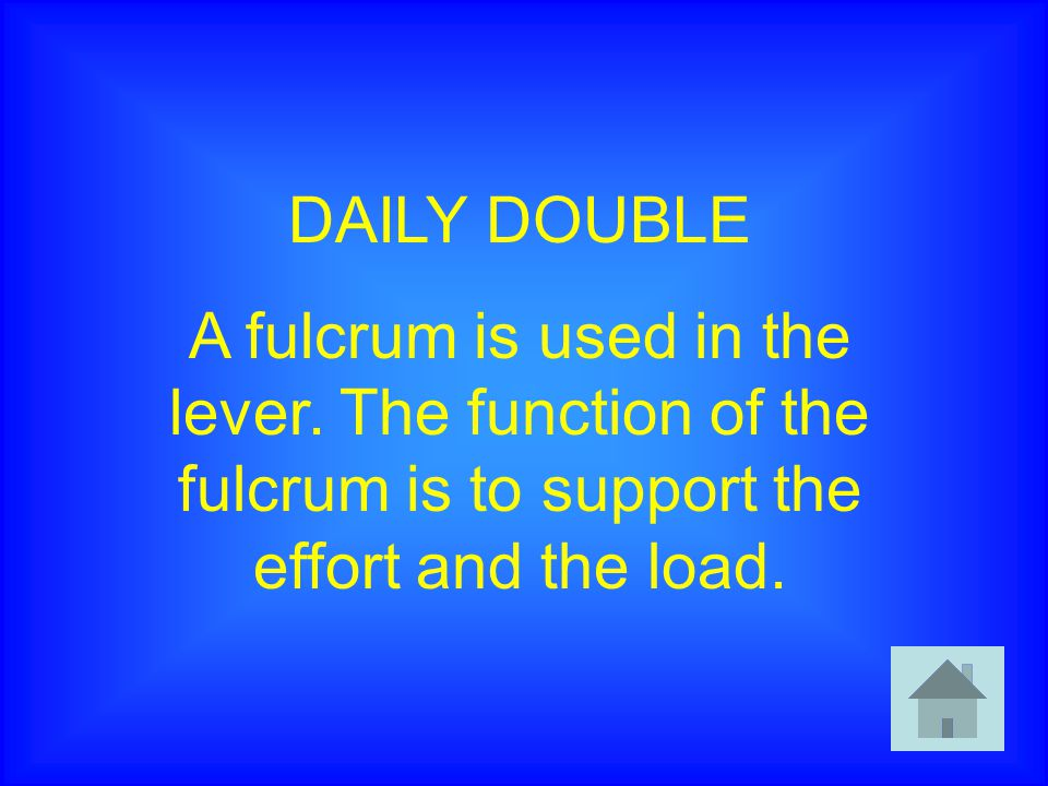 DAILY DOUBLE A fulcrum is used in the lever.