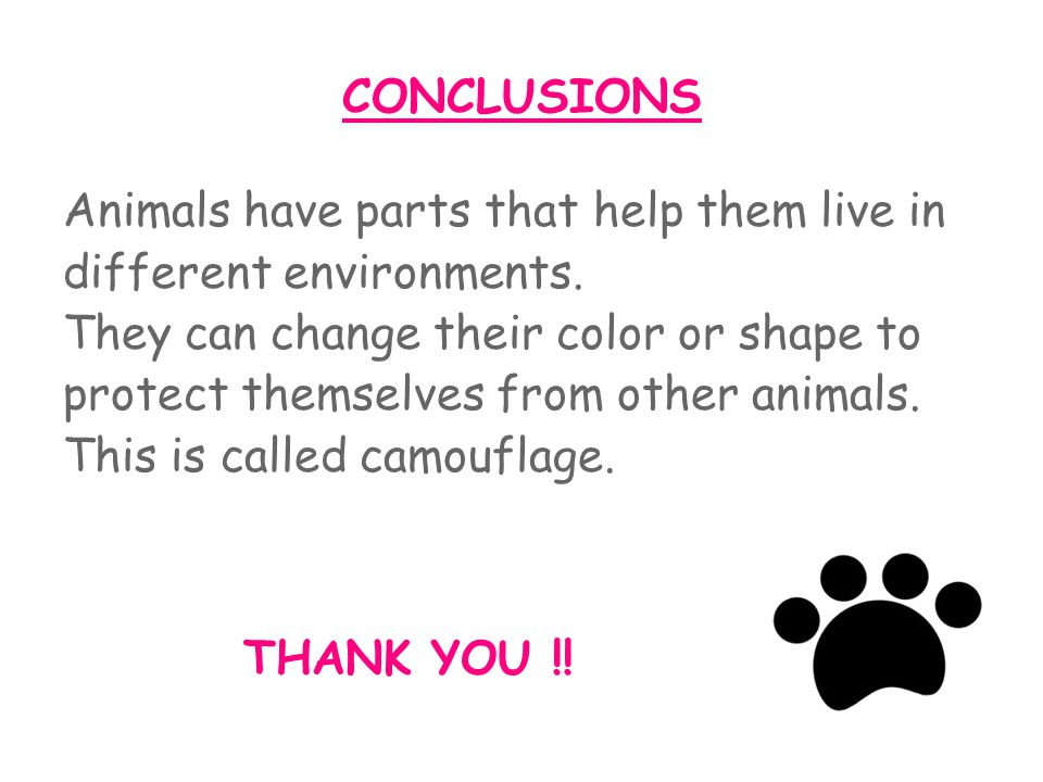 CONCLUSIONS Animals have parts that help them live in. different environments. They can change their color or shape to.