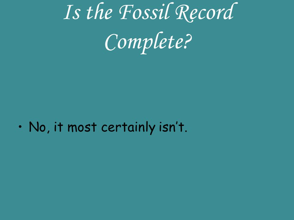 Is the Fossil Record Complete