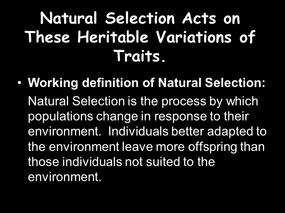 Natural Selection Acts on These Heritable Variations of Traits.