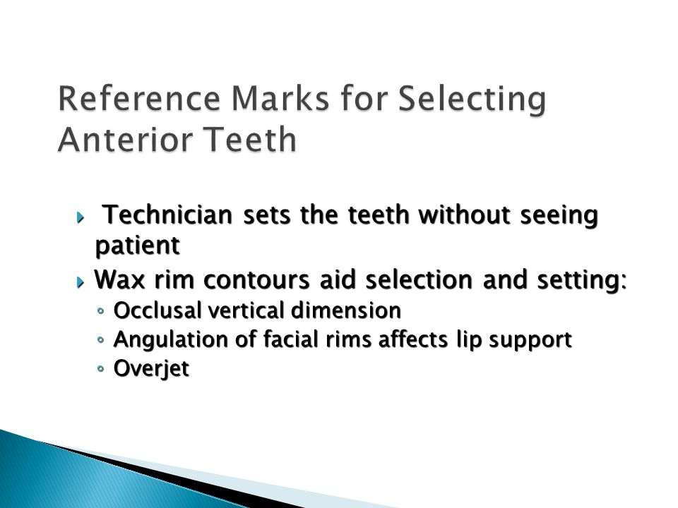 Reference Marks for Selecting Anterior Teeth