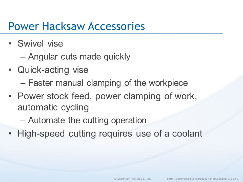 Power Hacksaw Accessories