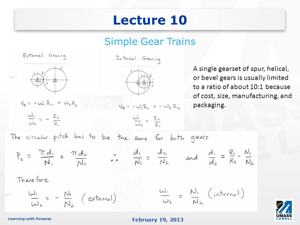 Lecture 10 Simple Gear Trains