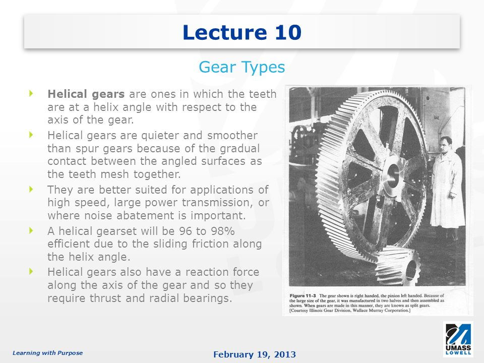 Lecture 10 Gear Types. Helical gears are ones in which the teeth are at a helix angle with respect to the axis of the gear.