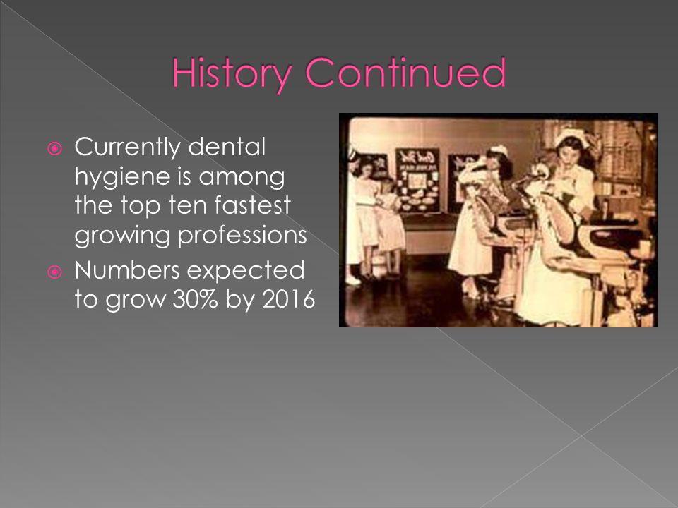 History Continued Currently dental hygiene is among the top ten fastest growing professions.