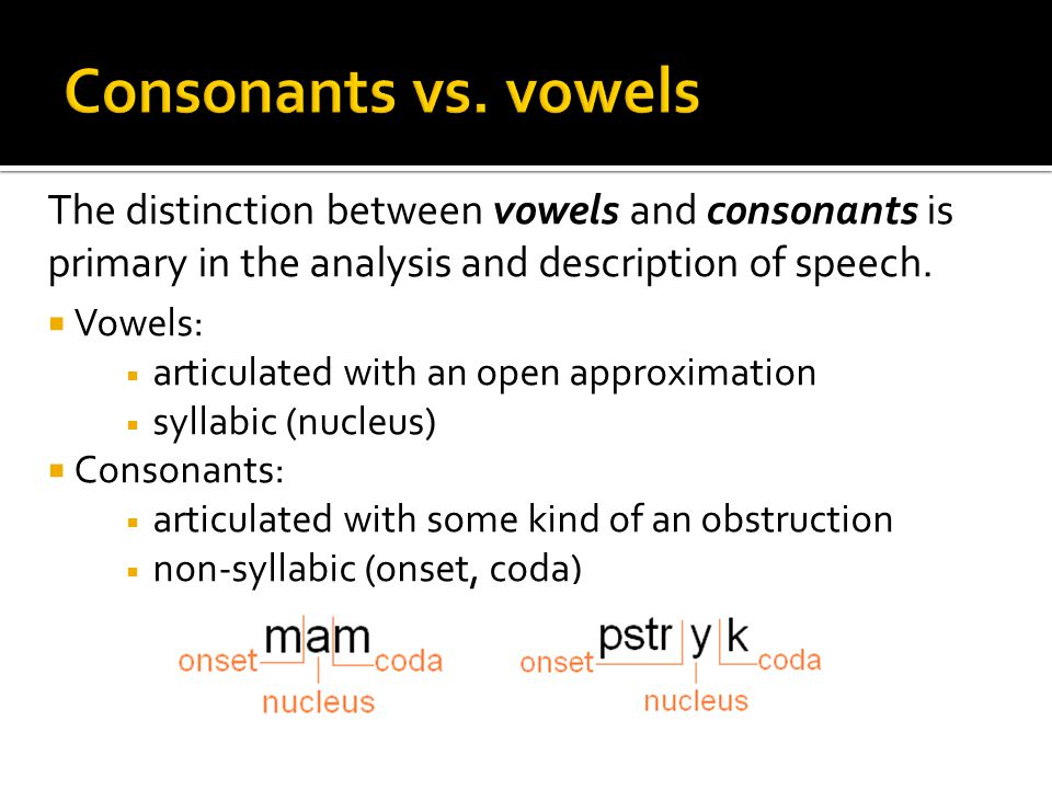 Consonants vs. vowels The distinction between vowels and consonants is primary in the analysis and description of speech.