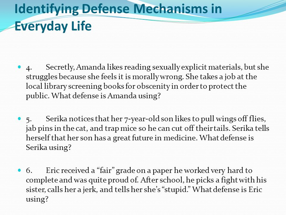 Identifying Defense Mechanisms in Everyday Life