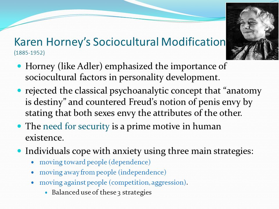 Karen Horney's Sociocultural Modification (1885-1952)