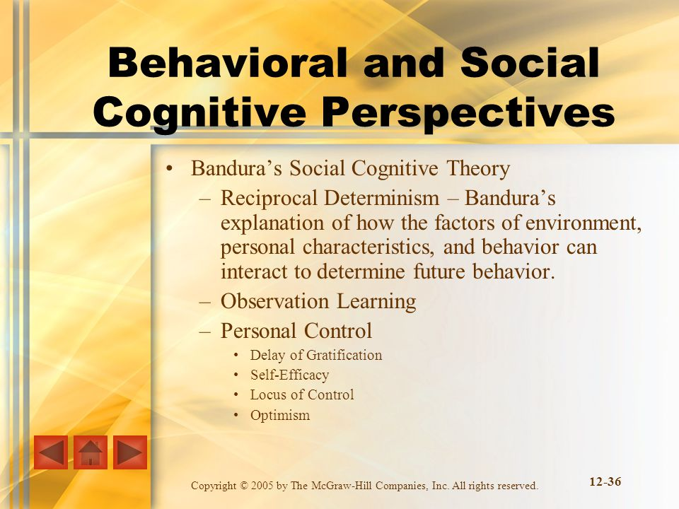 Behavioral and Social Cognitive Perspectives