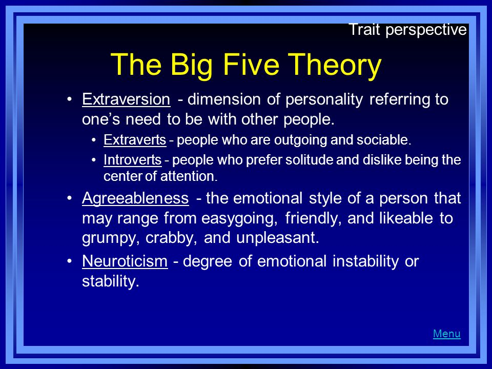 The Big Five Theory Trait perspective