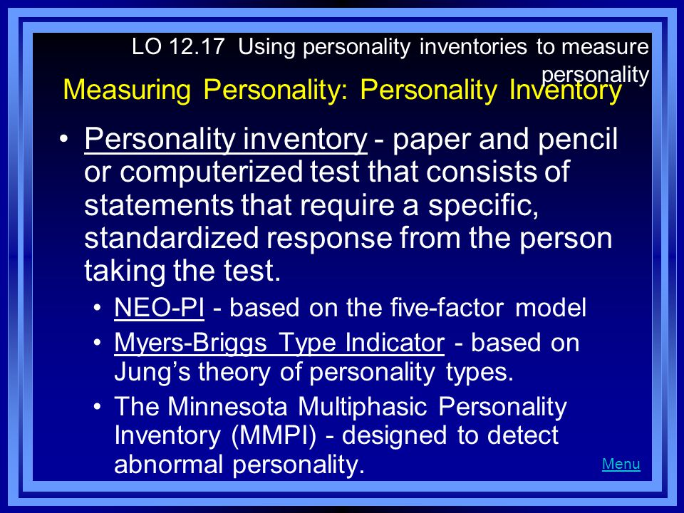 Measuring Personality: Personality Inventory