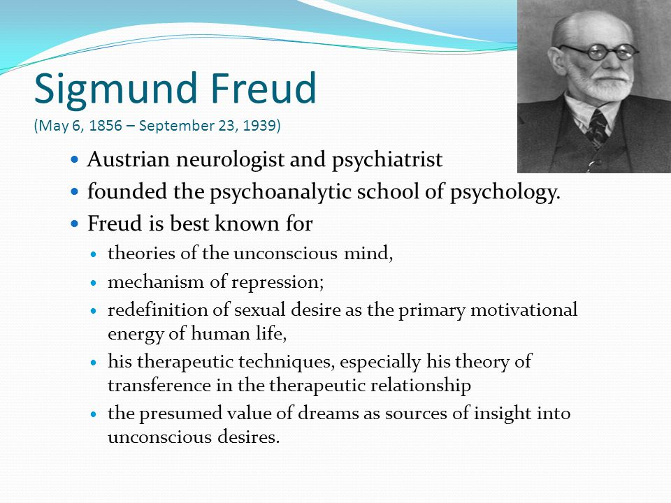 Sigmund Freud (May 6, 1856 – September 23, 1939)