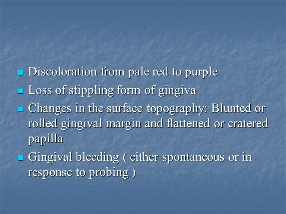 Discoloration from pale red to purple