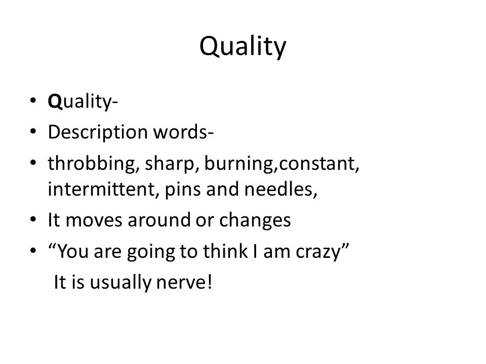 Quality Quality- Description words-