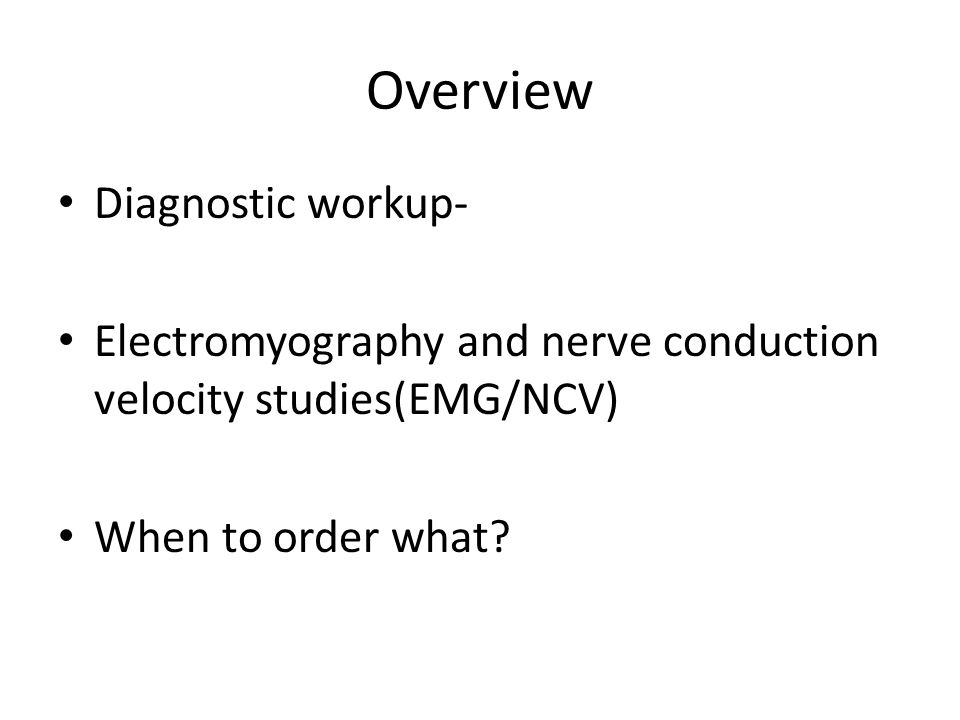 Overview Diagnostic workup-