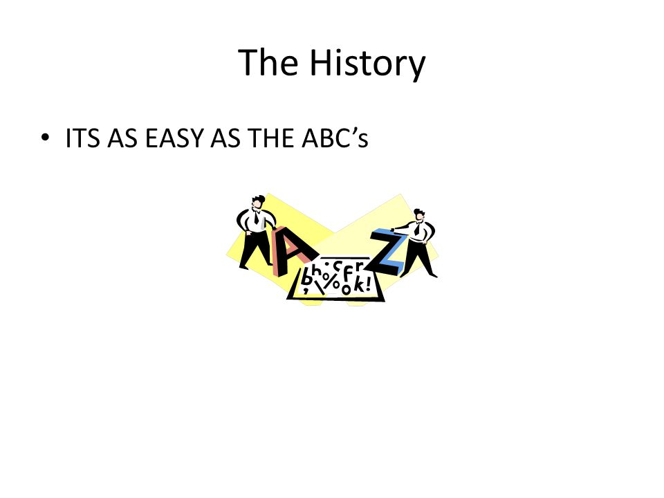 The History ITS AS EASY AS THE ABC's