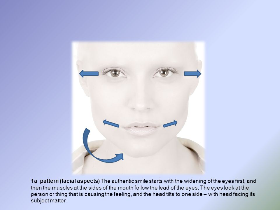 1a pattern (facial aspects) The authentic smile starts with the widening of the eyes first, and then the muscles at the sides of the mouth follow the lead of the eyes.