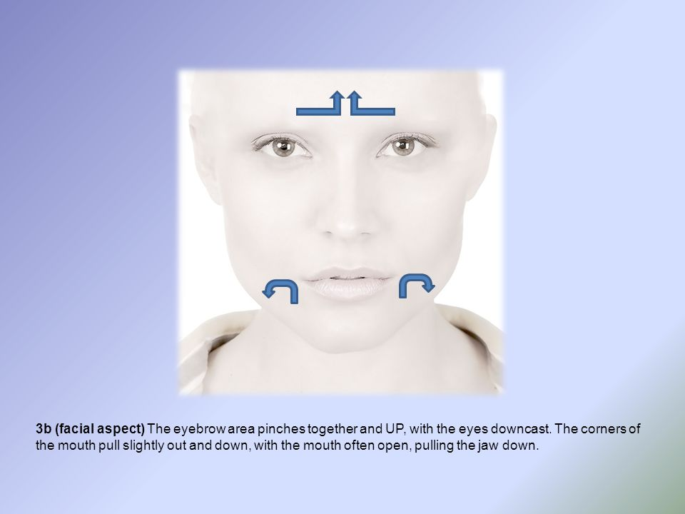 3b (facial aspect) The eyebrow area pinches together and UP, with the eyes downcast.