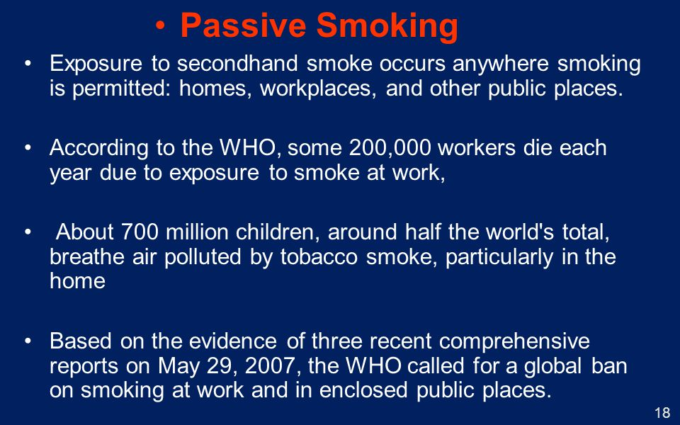 Passive Smoking Exposure to secondhand smoke occurs anywhere smoking is permitted: homes, workplaces, and other public places.