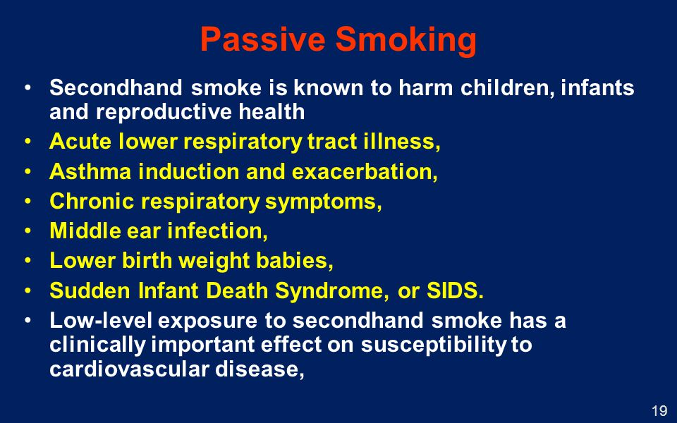 Passive Smoking Secondhand smoke is known to harm children, infants and reproductive health. Acute lower respiratory tract illness,