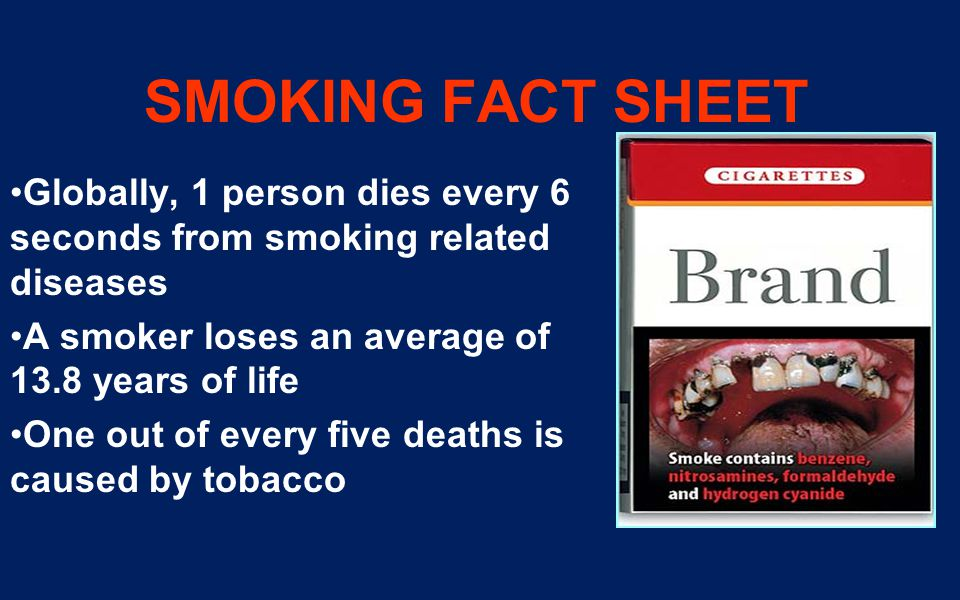 SMOKING FACT SHEET Globally, 1 person dies every 6 seconds from smoking related diseases. A smoker loses an average of 13.8 years of life.