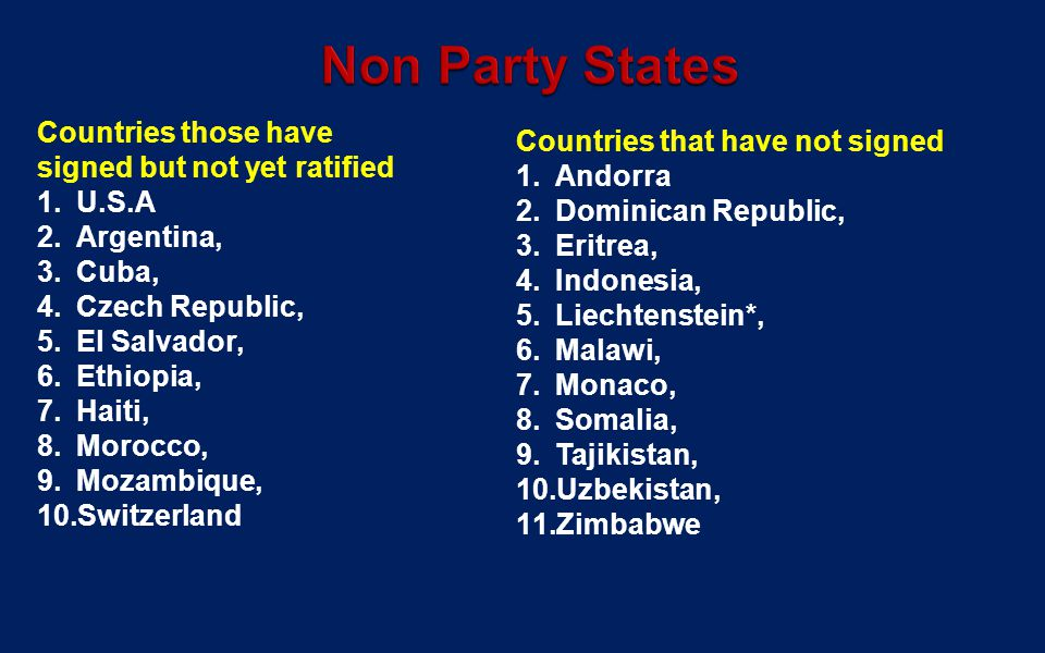 Non Party States Countries those have signed but not yet ratified