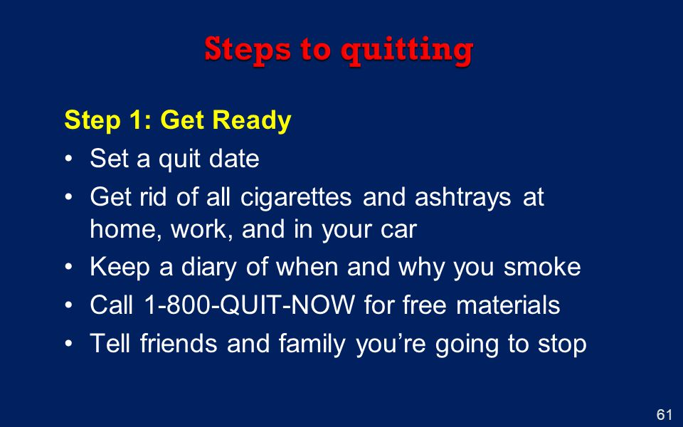 Steps to quitting Step 1: Get Ready Set a quit date