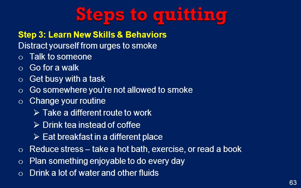 Steps to quitting Step 3: Learn New Skills & Behaviors