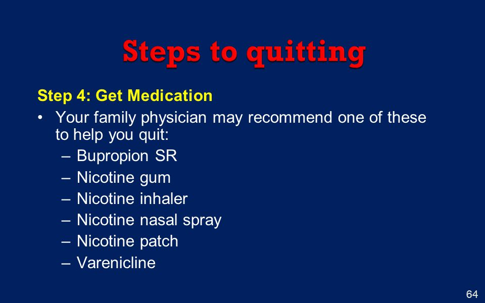 Steps to quitting Step 4: Get Medication