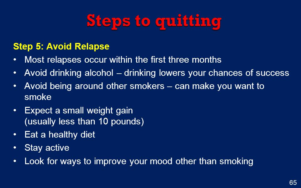 Steps to quitting Step 5: Avoid Relapse