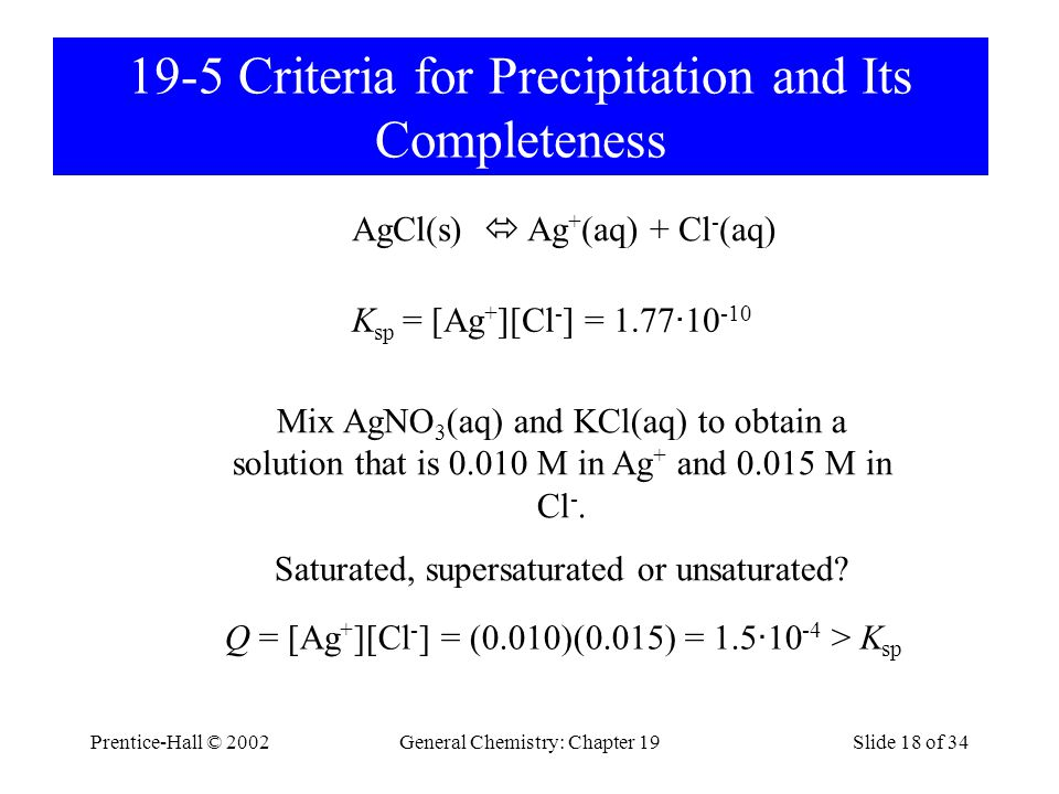 19-5 Criteria for Precipitation and Its Completeness
