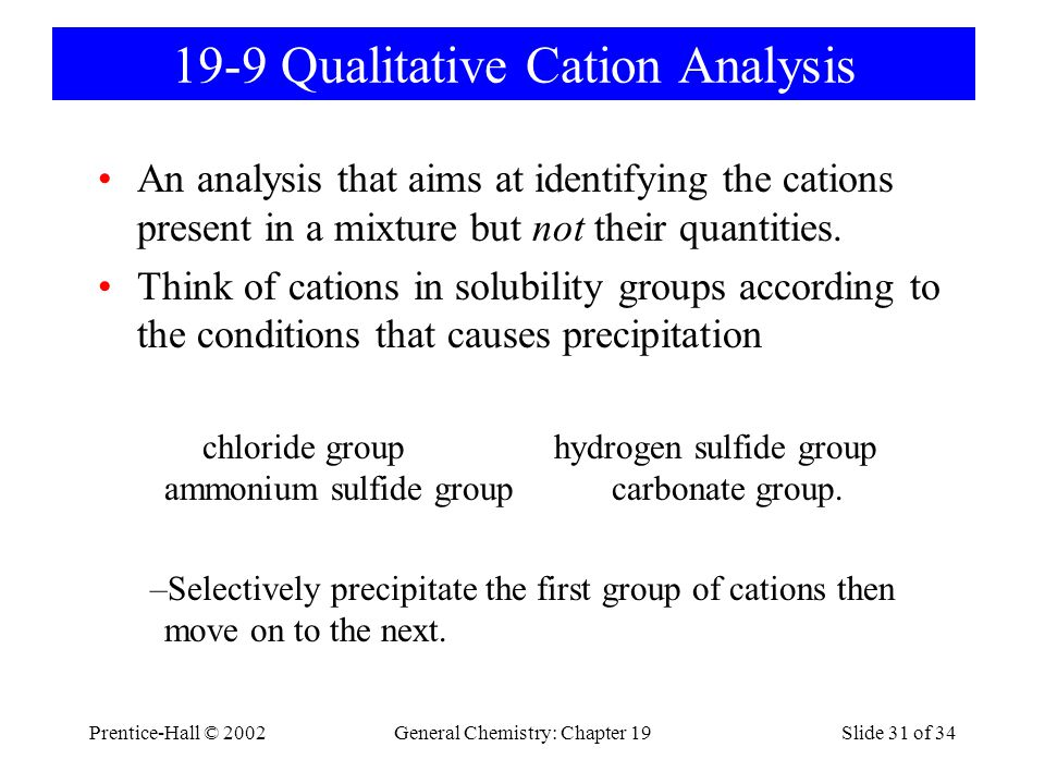 19-9 Qualitative Cation Analysis