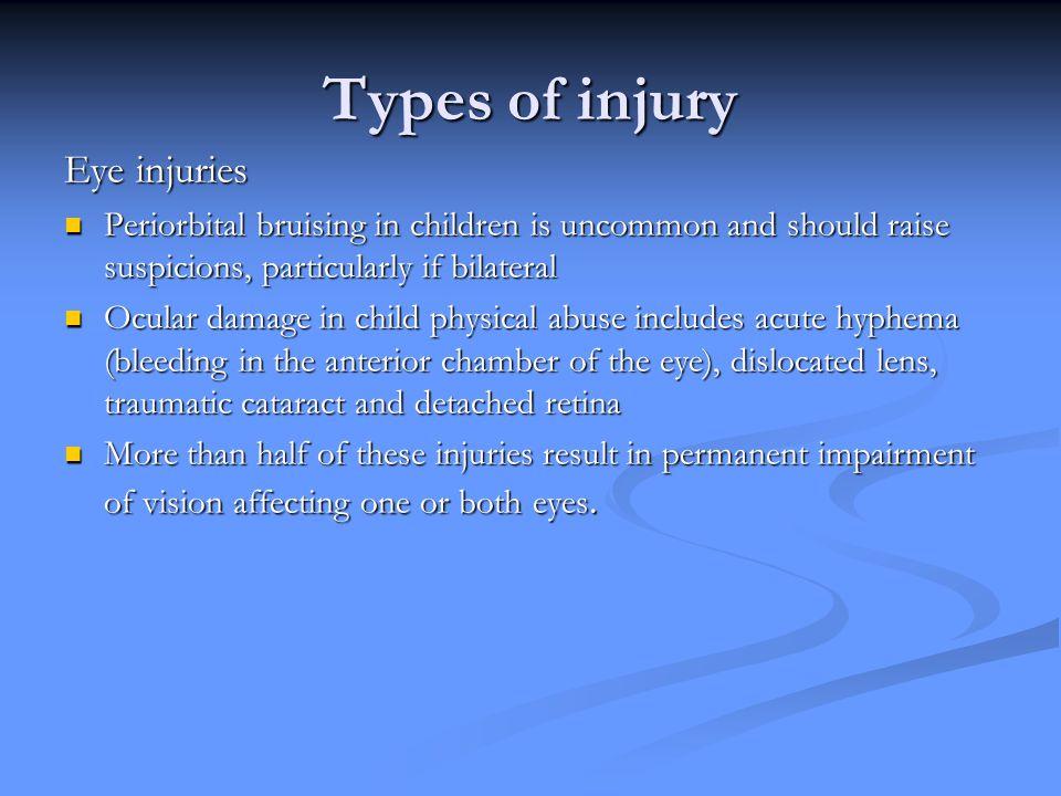 Types of injury Eye injuries