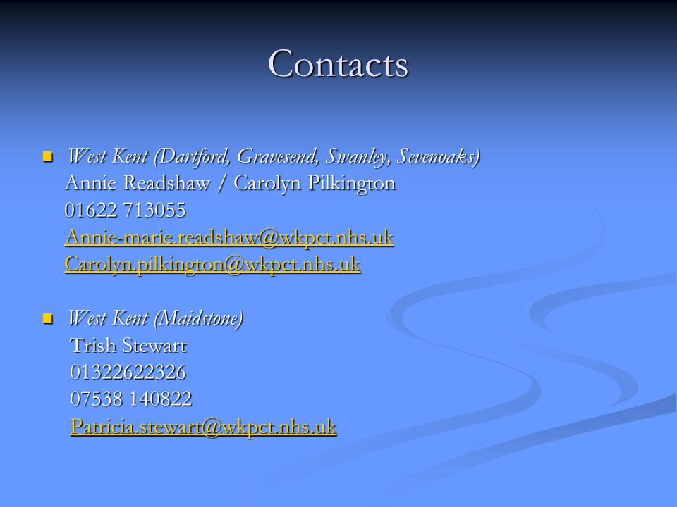Contacts West Kent (Dartford, Gravesend, Swanley, Sevenoaks)