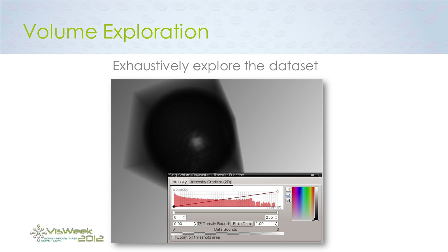 Volume Exploration Exhaustively explore the dataset