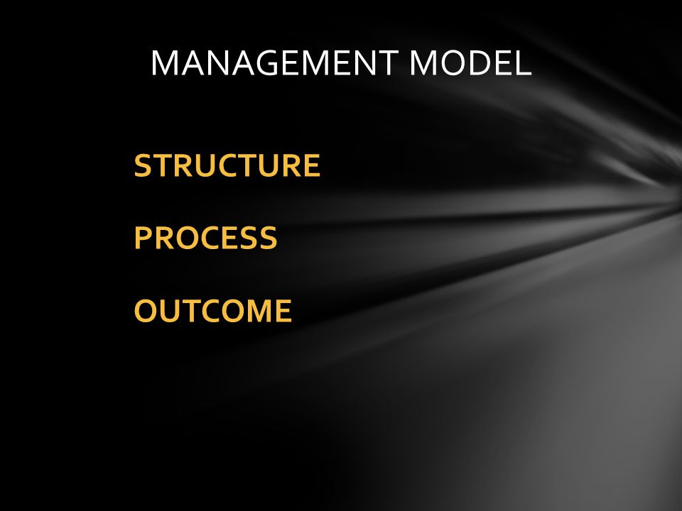 MANAGEMENT MODEL STRUCTURE PROCESS OUTCOME