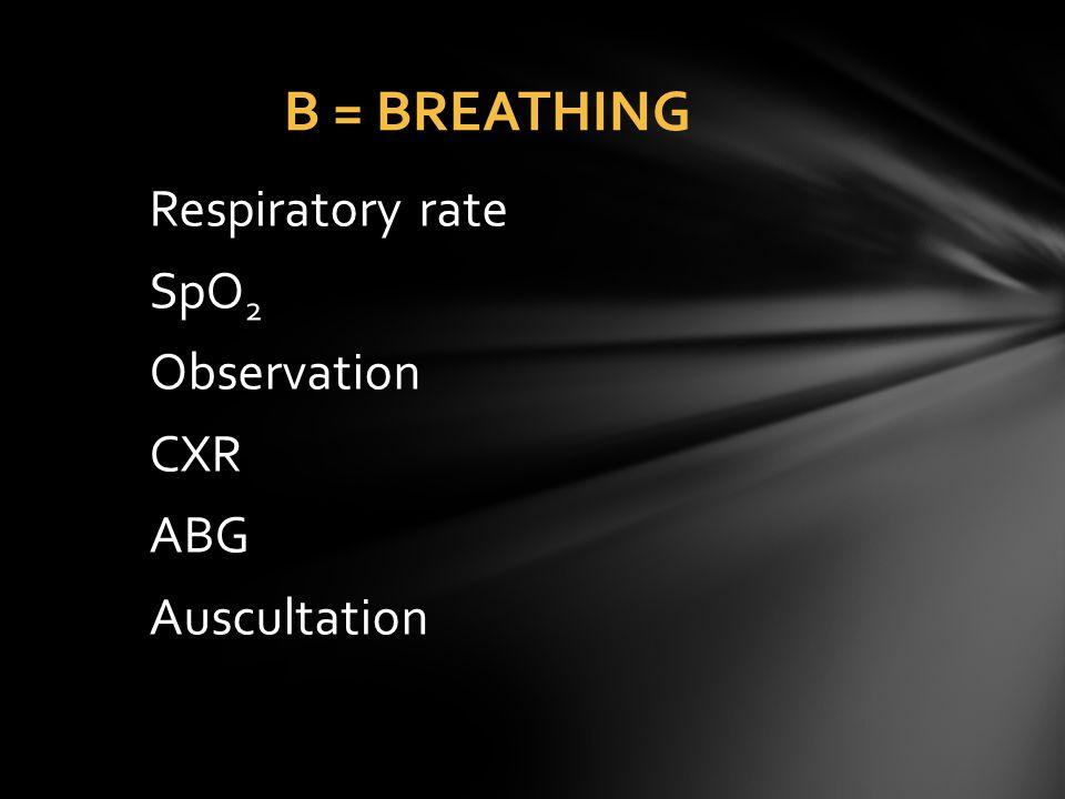 B = BREATHING Respiratory rate SpO2 Observation CXR ABG Auscultation