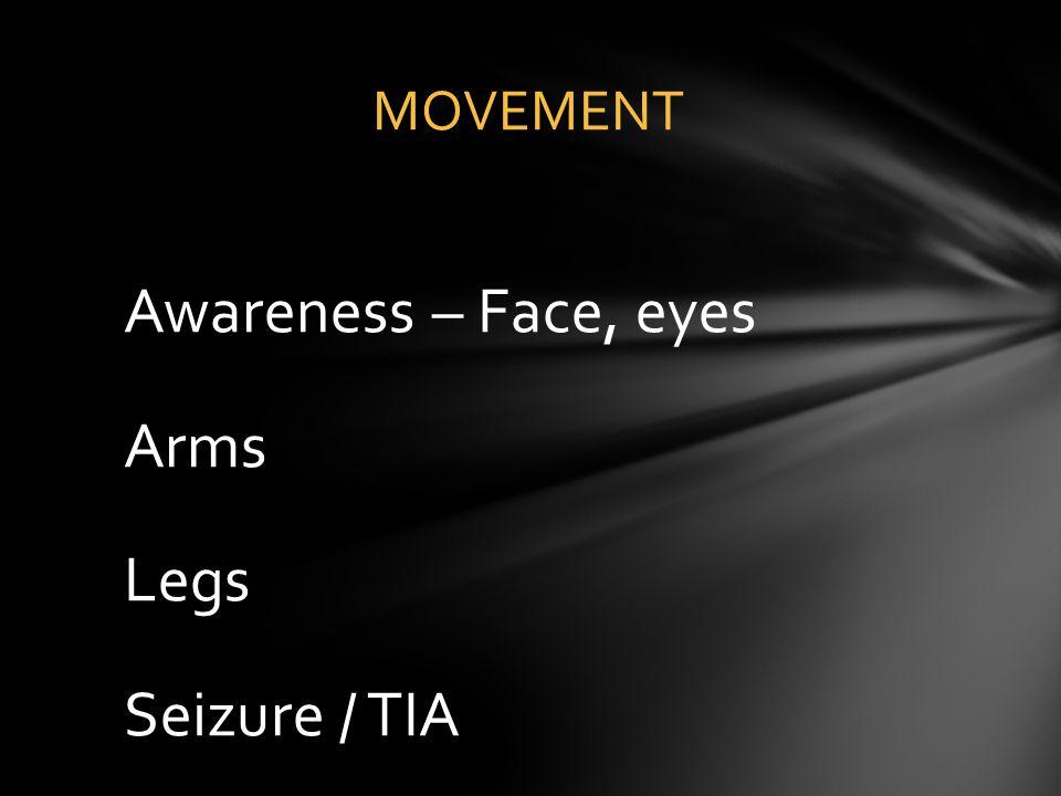 Awareness – Face, eyes Arms Legs Seizure / TIA
