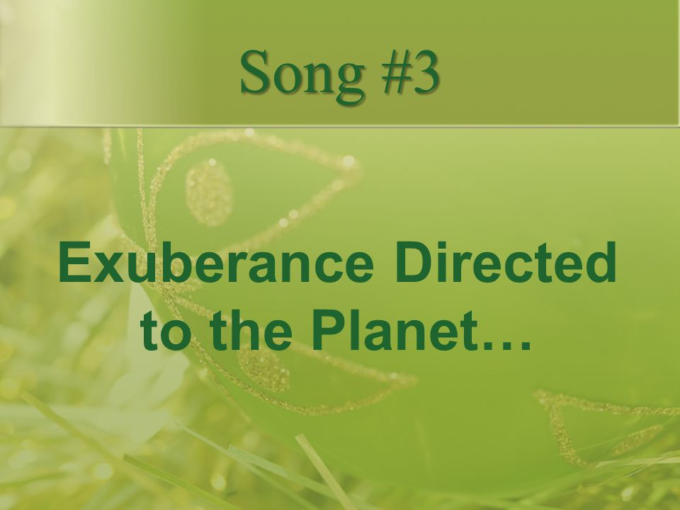 Exuberance Directed to the Planet…