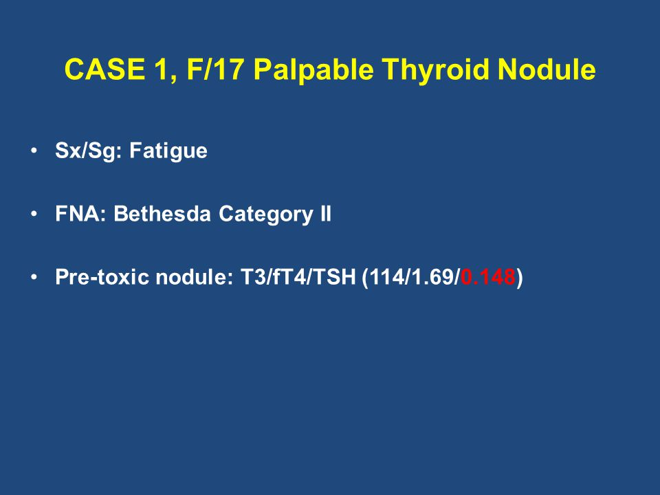 CASE 1, F/17 Palpable Thyroid Nodule