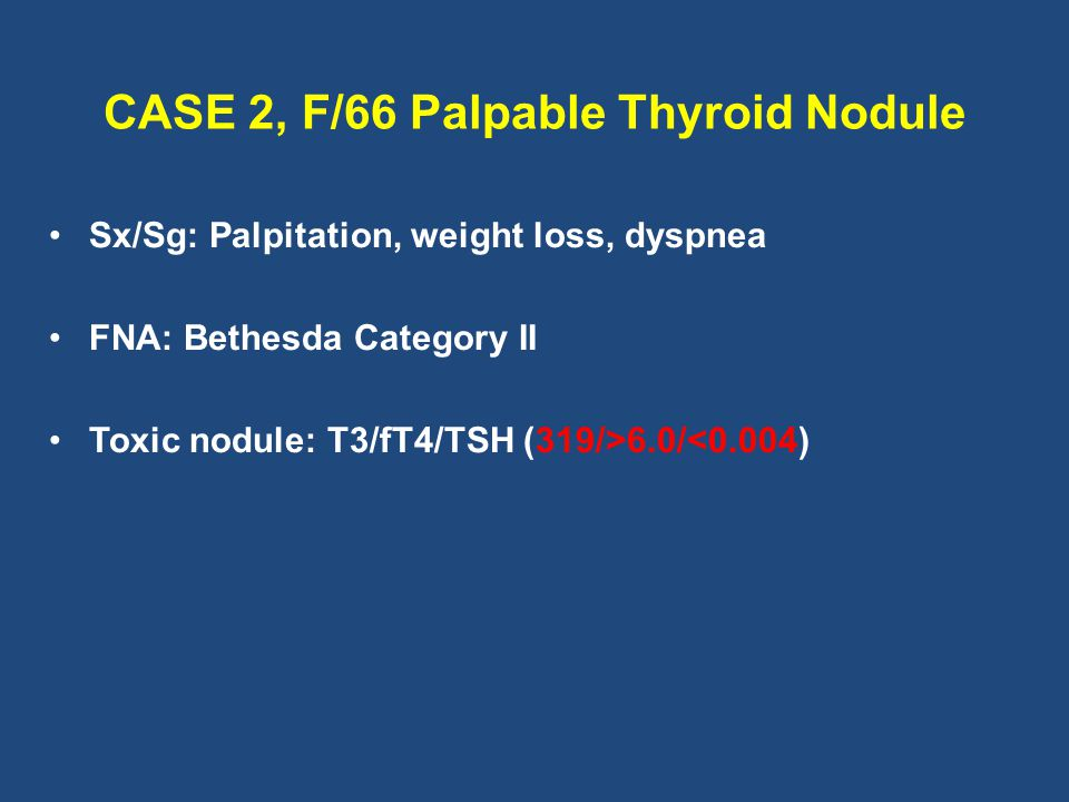 CASE 2, F/66 Palpable Thyroid Nodule