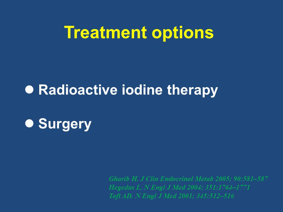 Treatment options Radioactive iodine therapy Surgery