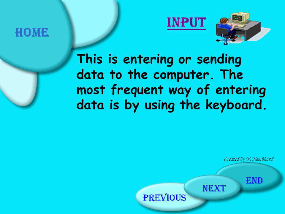 Home Input. This is entering or sending data to the computer. The most frequent way of entering data is by using the keyboard.